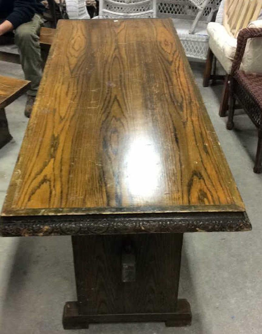 I rage Oak Trestle Table w 2 Benches Hand made Verplank - 2