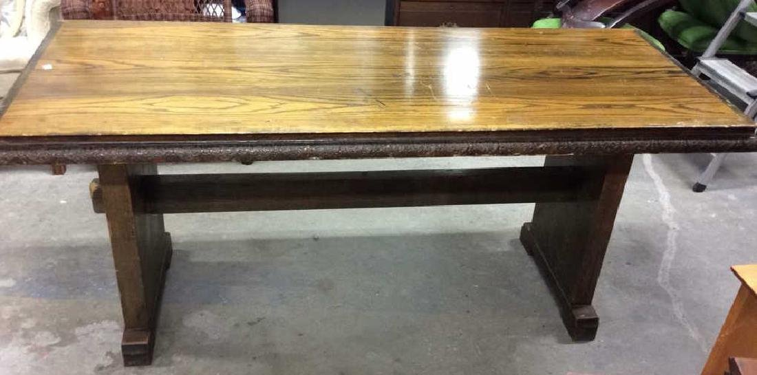 I rage Oak Trestle Table w 2 Benches Hand made Verplank - 4