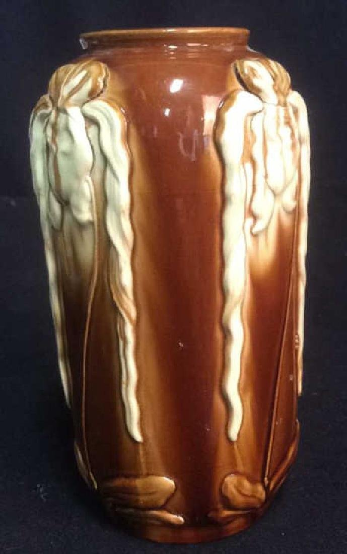 Ceramic Pottery Vase with Iris Tactile Decoration Brown