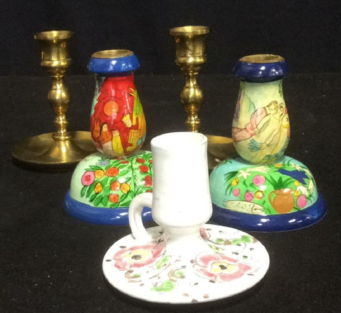 Group Brass Ceramic and Hand Painted Candlesticks Lot