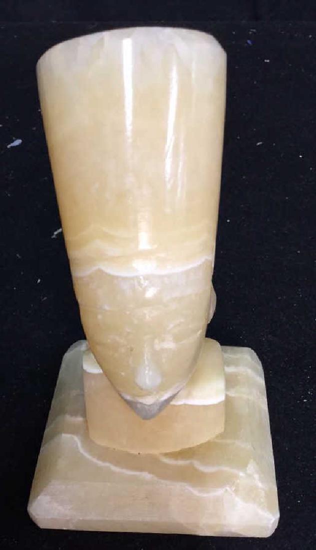 Two Alabaster Nefertiti heads 2 hand carved alabaster - 3