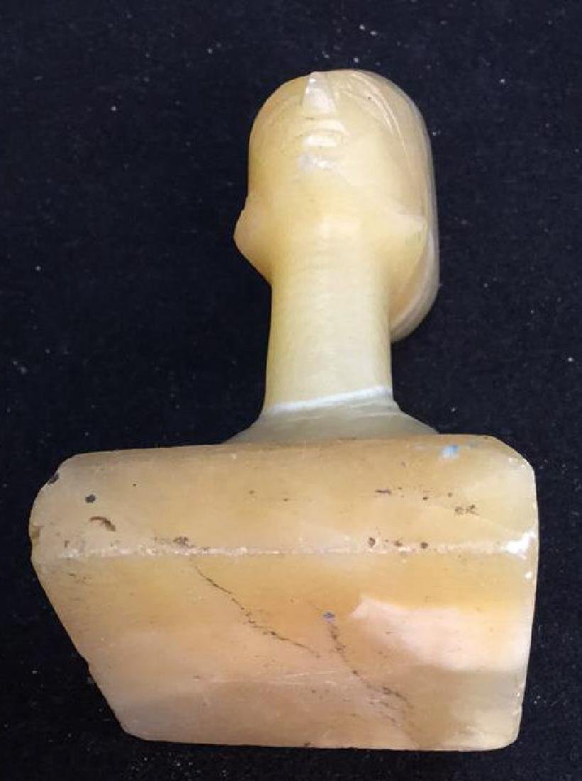 Two Alabaster Nefertiti heads 2 hand carved alabaster - 9
