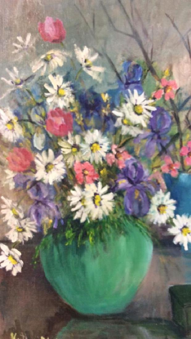 Signed Painterly Still Life on Canvas Floral - 3