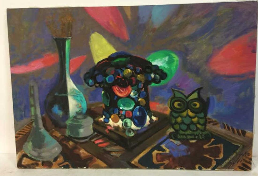 Vintage Owl Painting Signed Colorful painting of owl - 2