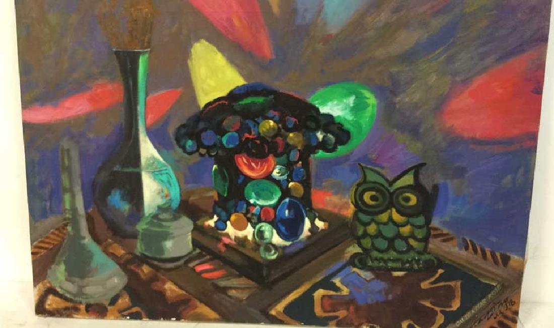 Vintage Owl Painting Signed Colorful painting of owl - 3