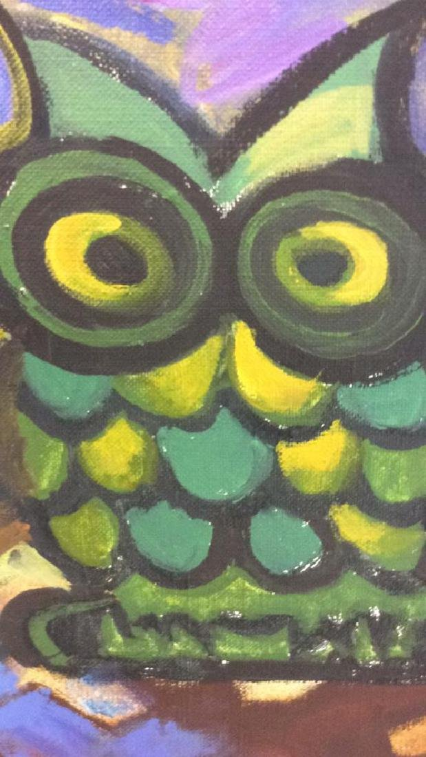 Vintage Owl Painting Signed Colorful painting of owl - 6