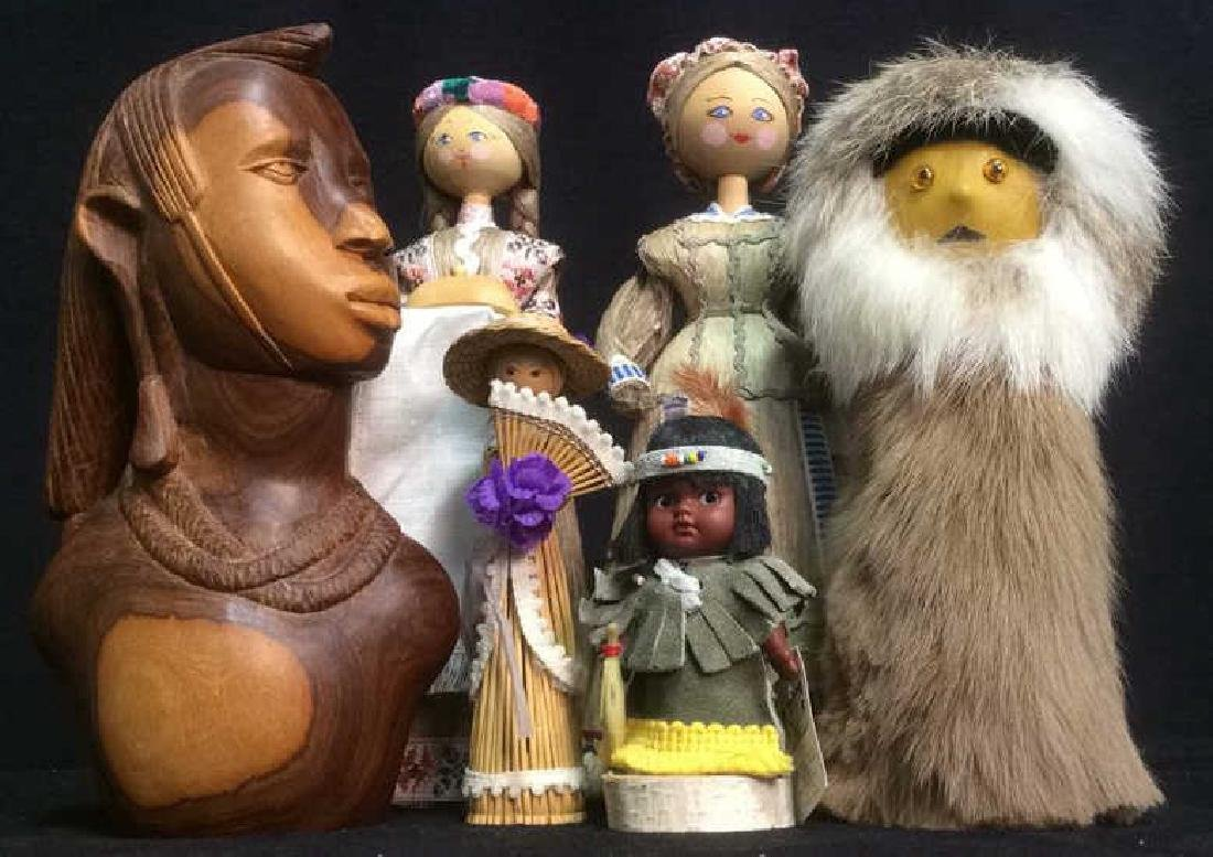 Group Assorted Wood Fur Leather Figurines Group Lot of