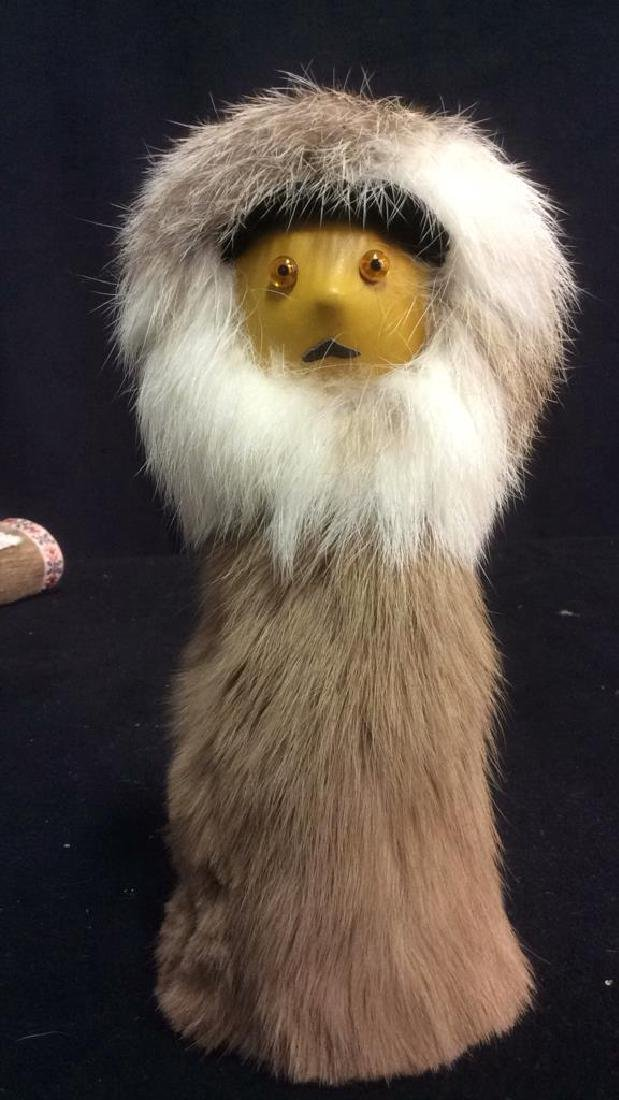 Group Assorted Wood Fur Leather Figurines Group Lot of - 2