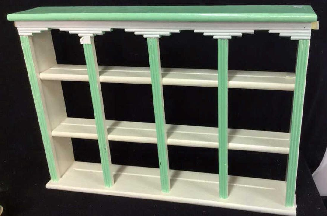 Painted Green White Hanging Display Shelf Decorative