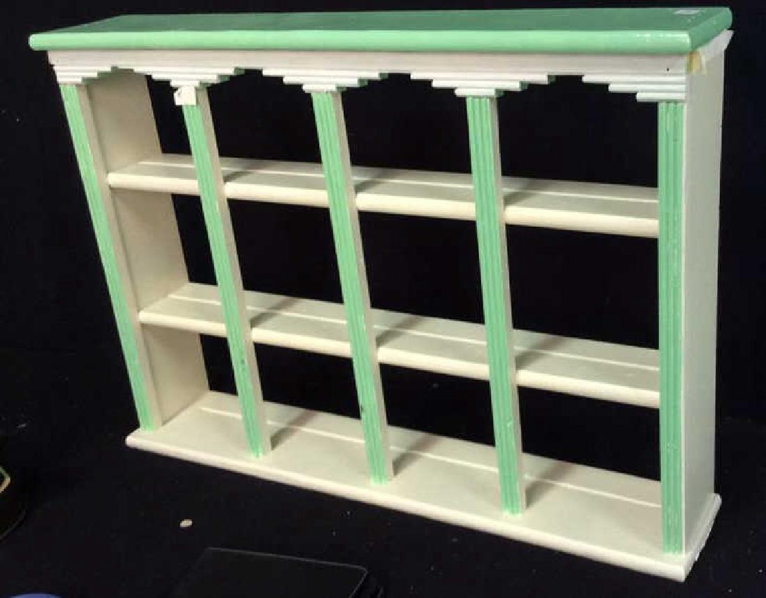 Painted Green White Hanging Display Shelf Decorative - 2