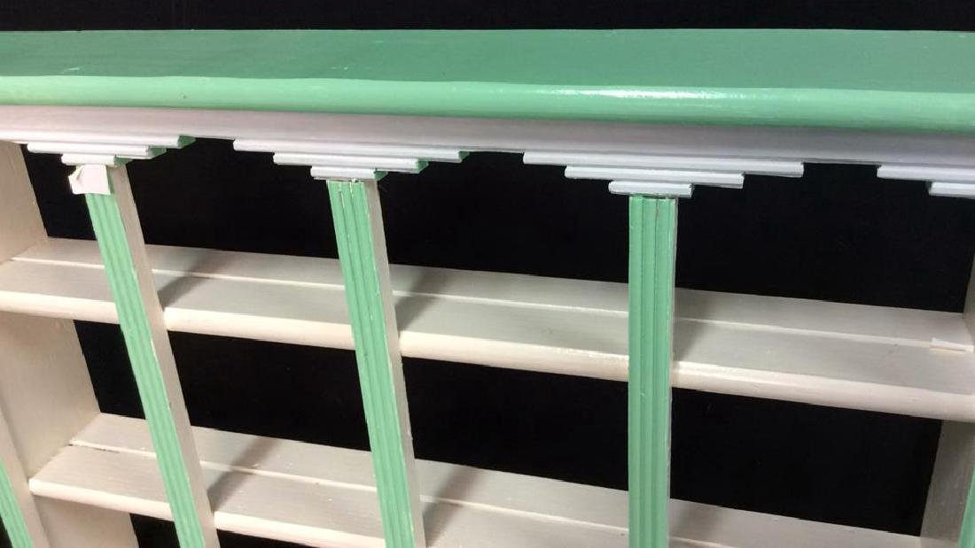 Painted Green White Hanging Display Shelf Decorative - 3