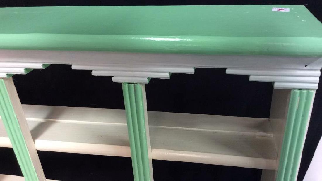 Painted Green White Hanging Display Shelf Decorative - 4