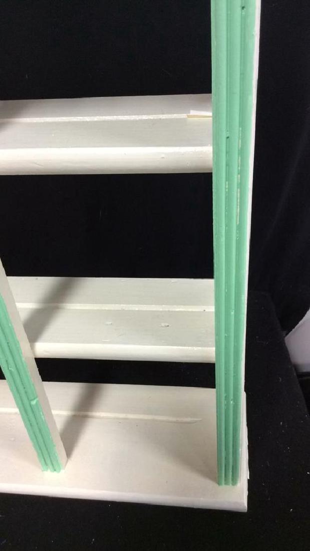Painted Green White Hanging Display Shelf Decorative - 5