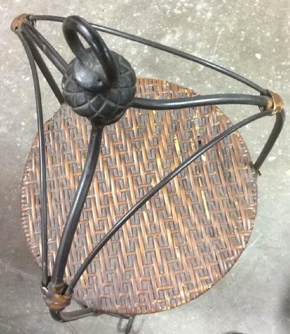 4-Tier Cylindrical Metal and Wicker Plant Stand Metal - 2
