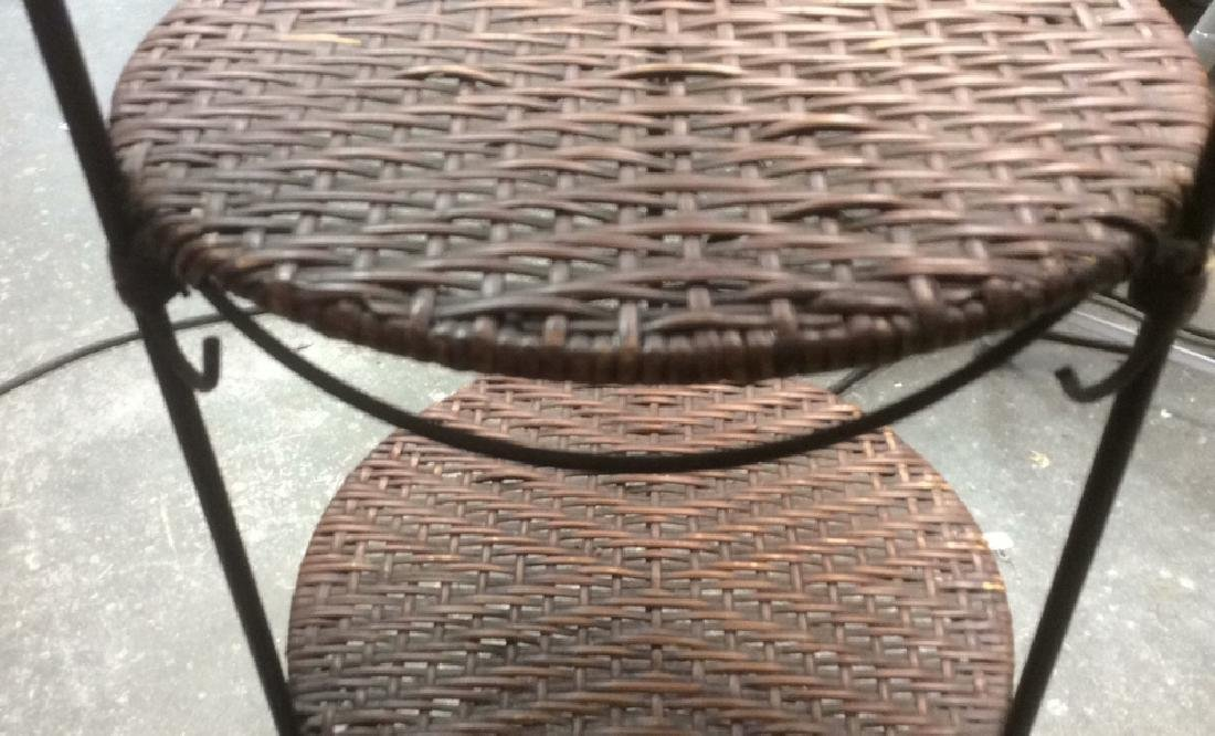 4-Tier Cylindrical Metal and Wicker Plant Stand Metal - 4
