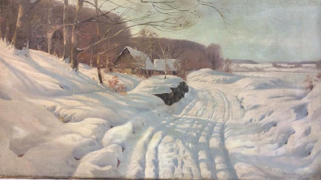 Vintage Signed Snow Scene on Canvas Painting on canvas,