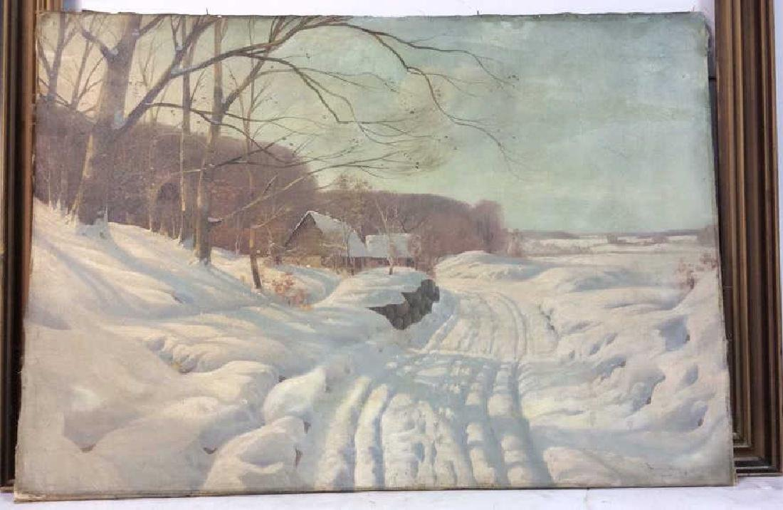 Vintage Signed Snow Scene on Canvas Painting on canvas, - 2