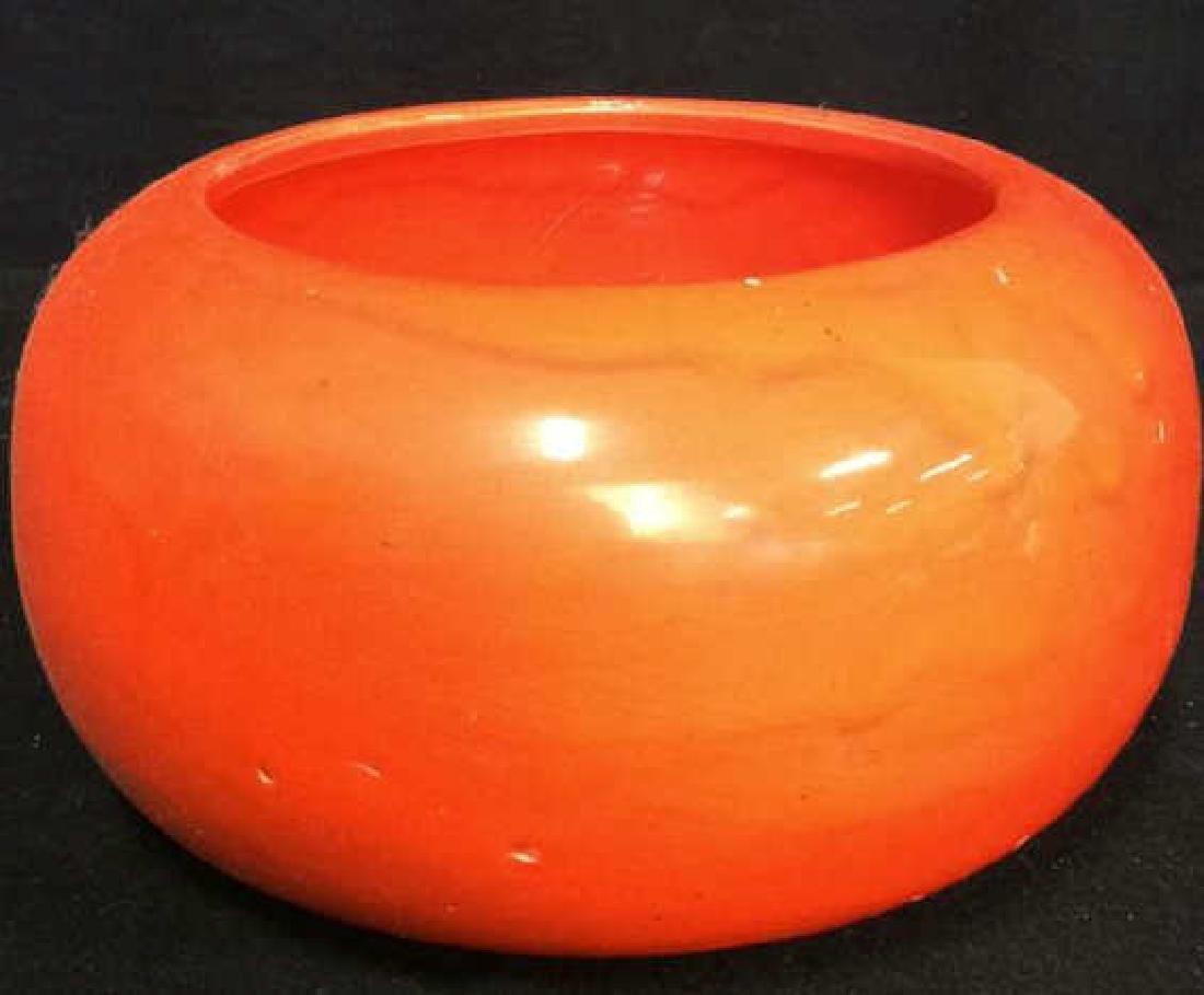 Vintage Orange Pottery Bowl Hand made Pottery bowl - 2