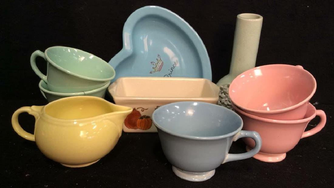 Vintage Kitchen Ceramic Table Top Group Cups, dishes