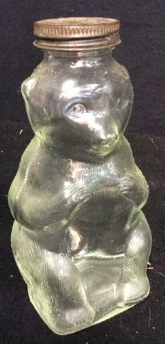 Vintage Collectible Kitchen aglassware Bear jar with - 5