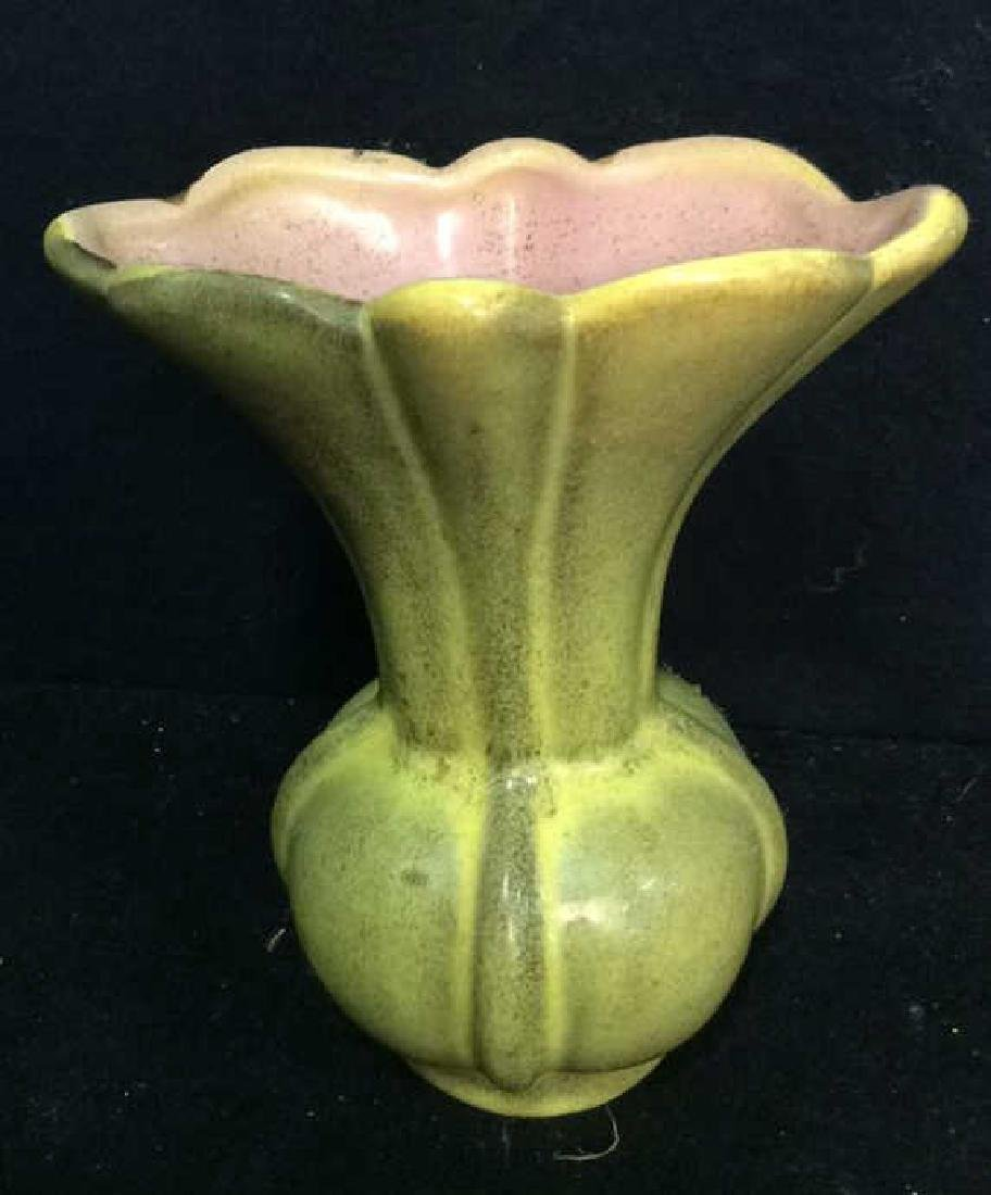 Pottery Vase and serving tray Greens pinks and golds. - 2