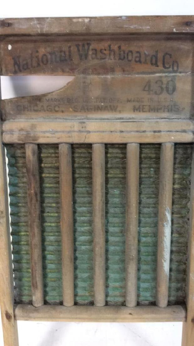 Antique Metal Wood Washboard Corrugated tin and hand - 2
