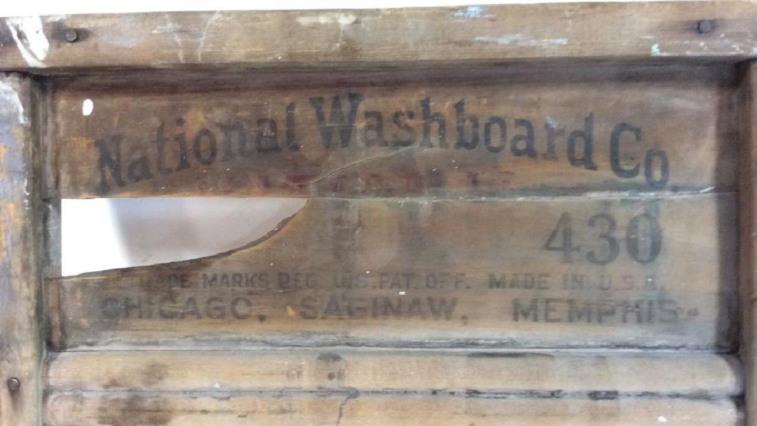 Antique Metal Wood Washboard Corrugated tin and hand - 4
