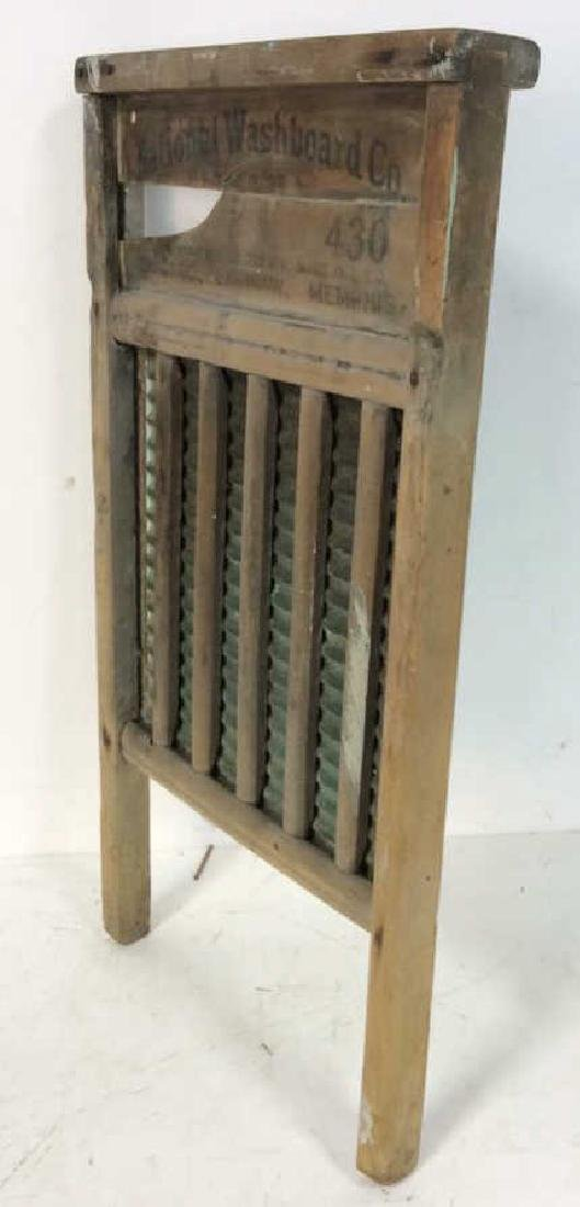 Antique Metal Wood Washboard Corrugated tin and hand - 5