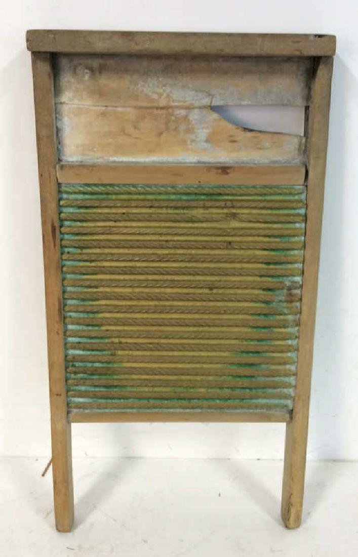 Antique Metal Wood Washboard Corrugated tin and hand - 6