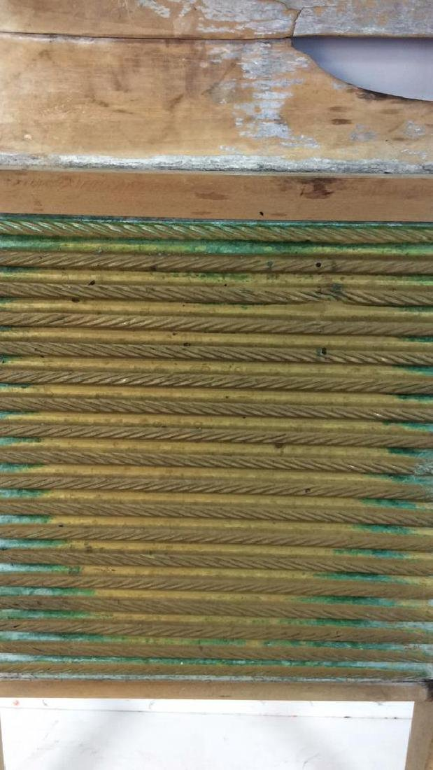 Antique Metal Wood Washboard Corrugated tin and hand - 7