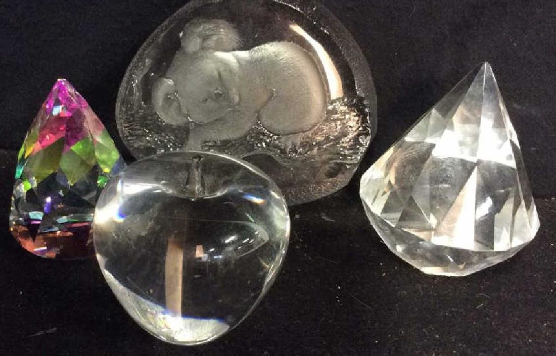 4 Crystal Glass Paperweights Glass prism, etched Koala
