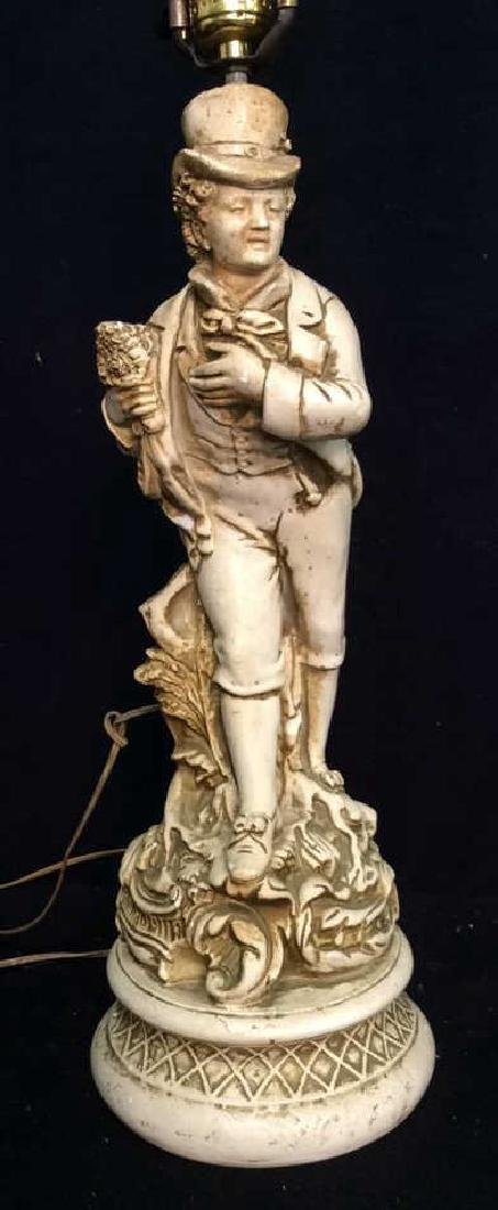 Victorian Gentleman Figural Lamp White painted