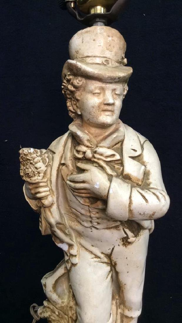 Victorian Gentleman Figural Lamp White painted - 2