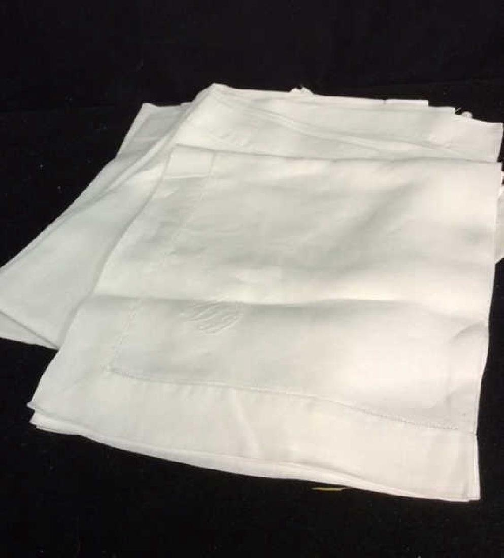Group 12 Starched Pressed White Linen Napkins Each with