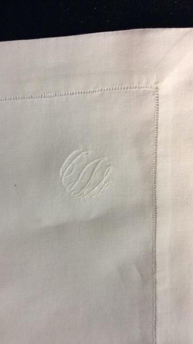 Group 12 Starched Pressed White Linen Napkins Each with - 3