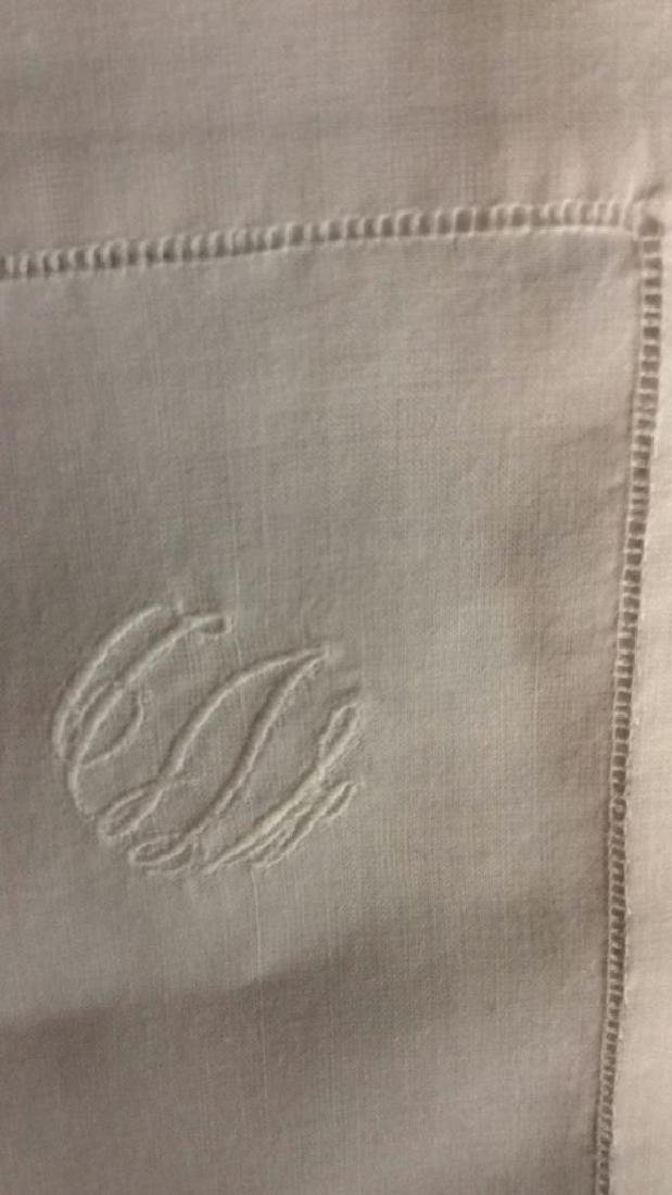 Group 12 Starched Pressed White Linen Napkins Each with - 4