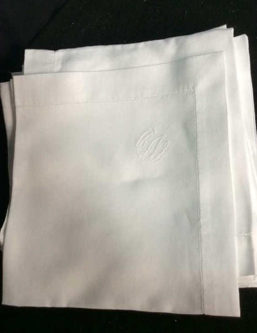 Group 12 Starched Pressed White Linen Napkins Each with - 6