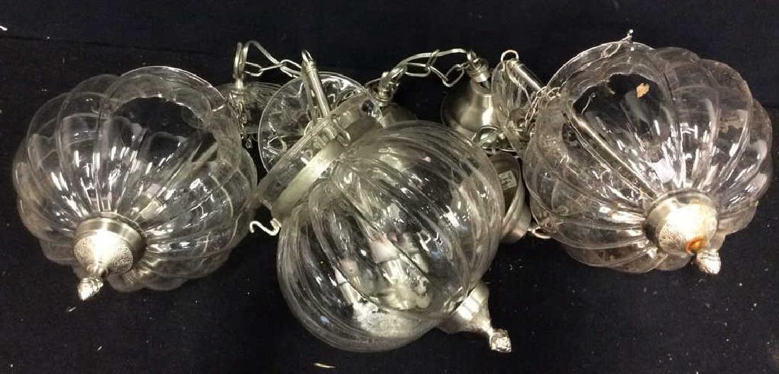 Set 3 Glass Pumpkin Form Chandeliers Good Condition,
