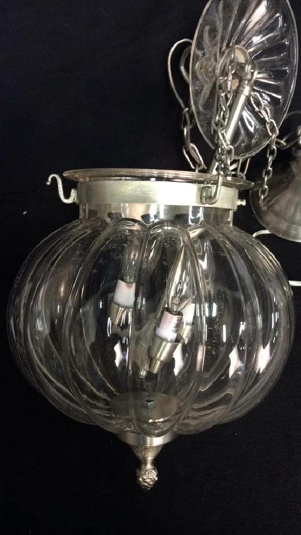 Set 3 Glass Pumpkin Form Chandeliers Good Condition, - 3