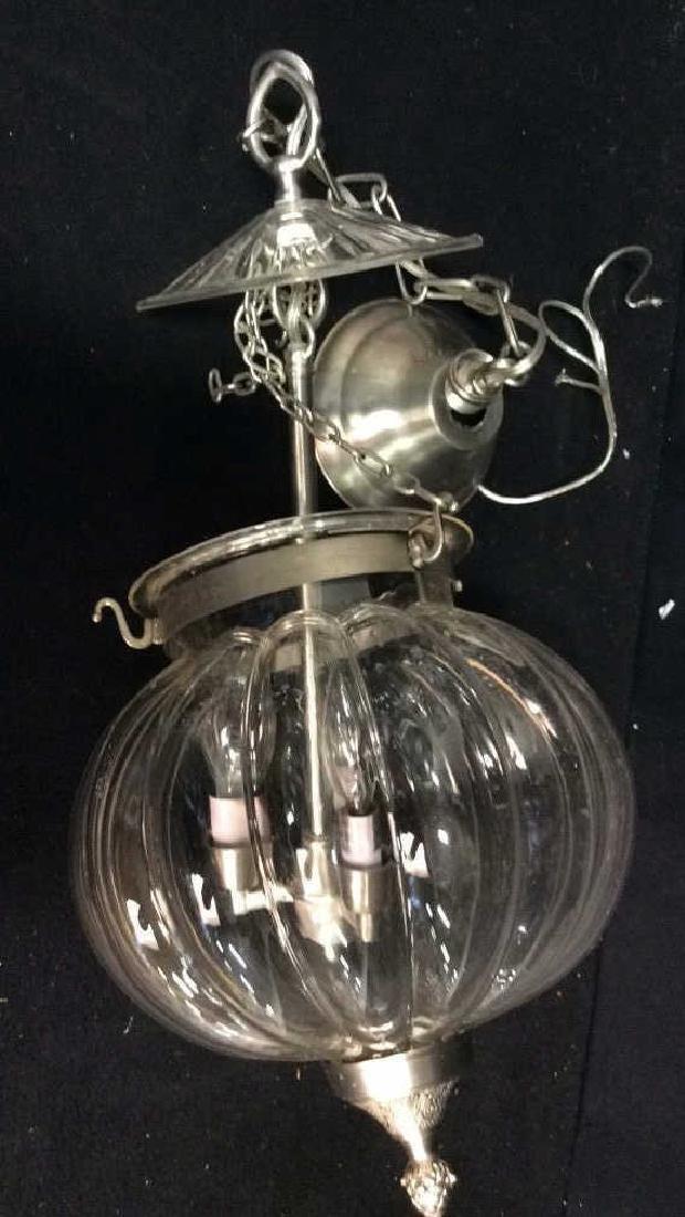 Set 3 Glass Pumpkin Form Chandeliers Good Condition, - 5