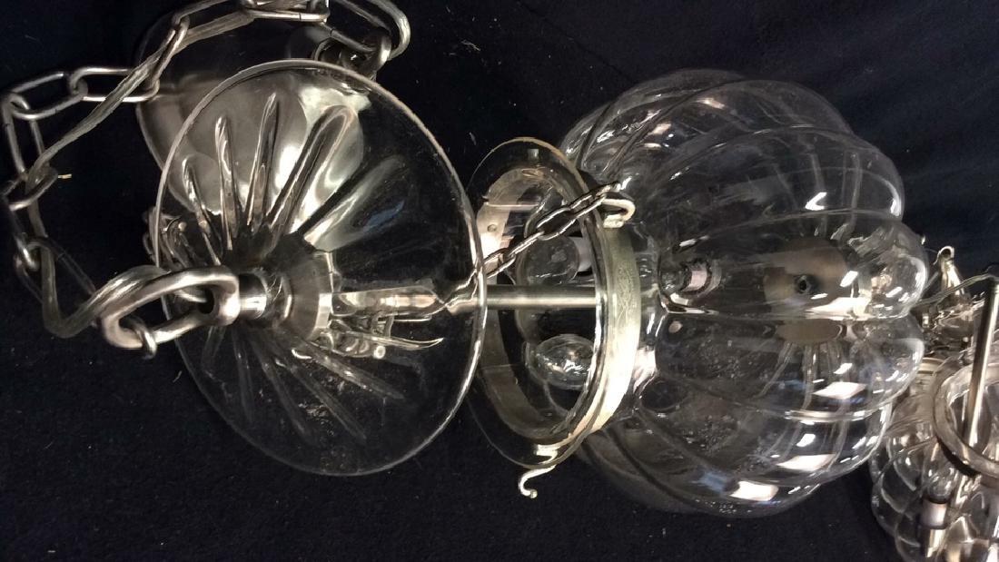 Set 3 Glass Pumpkin Form Chandeliers Good Condition, - 6