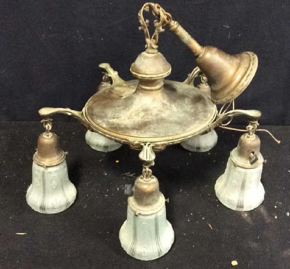 Antique 5 Arm Copper Light Fixture Antique five