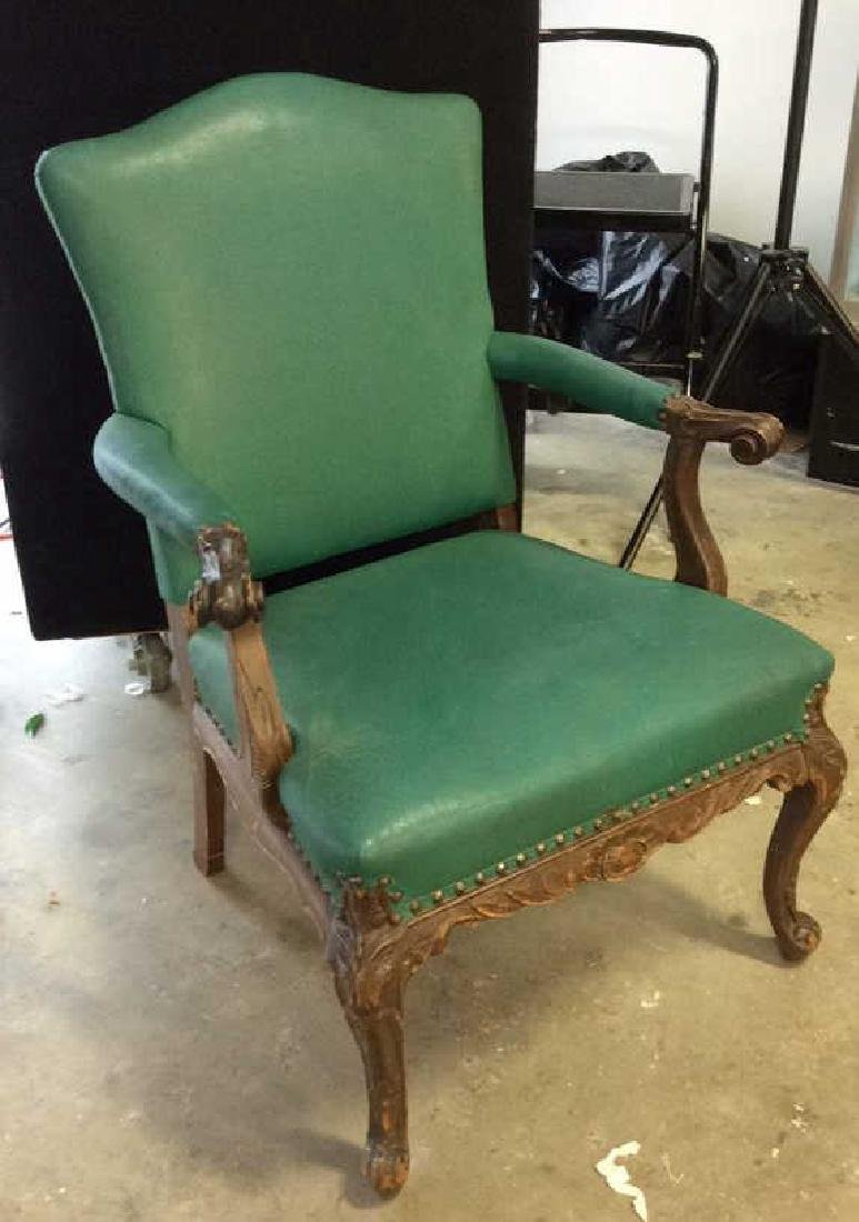Vintage leather And carved Bergere Arm chair with