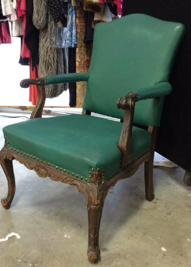 Vintage leather And carved Bergere Arm chair with - 2
