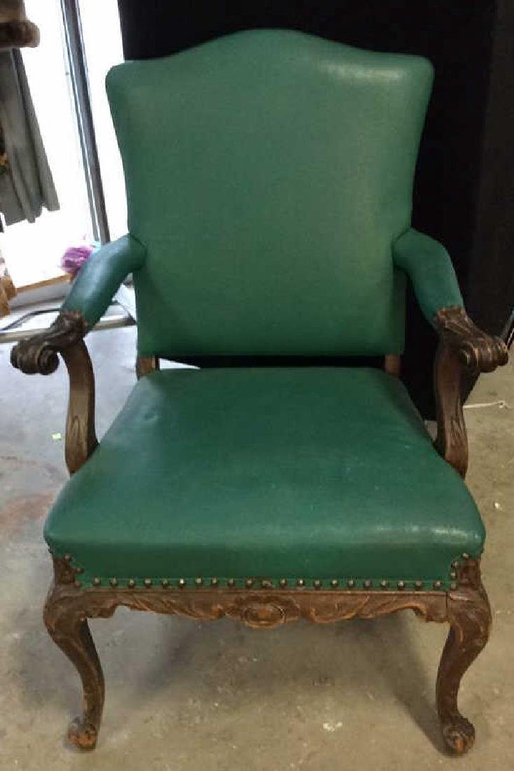 Vintage leather And carved Bergere Arm chair with - 3