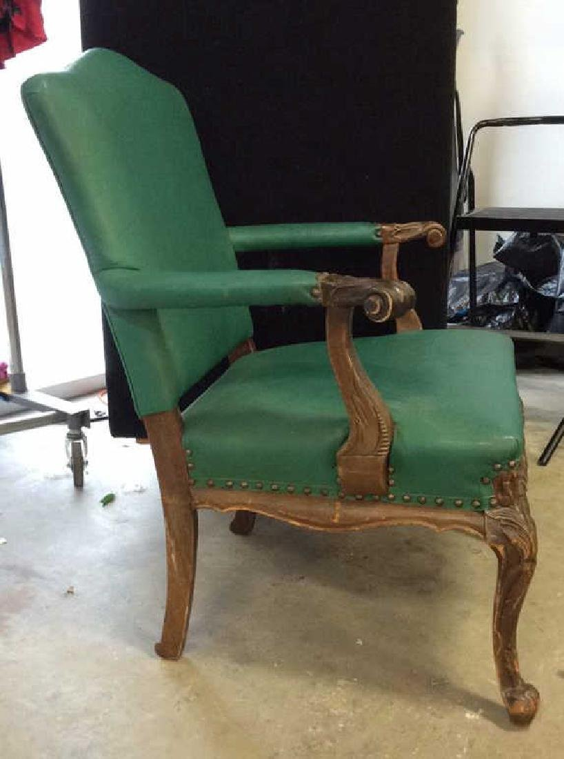 Vintage leather And carved Bergere Arm chair with - 4