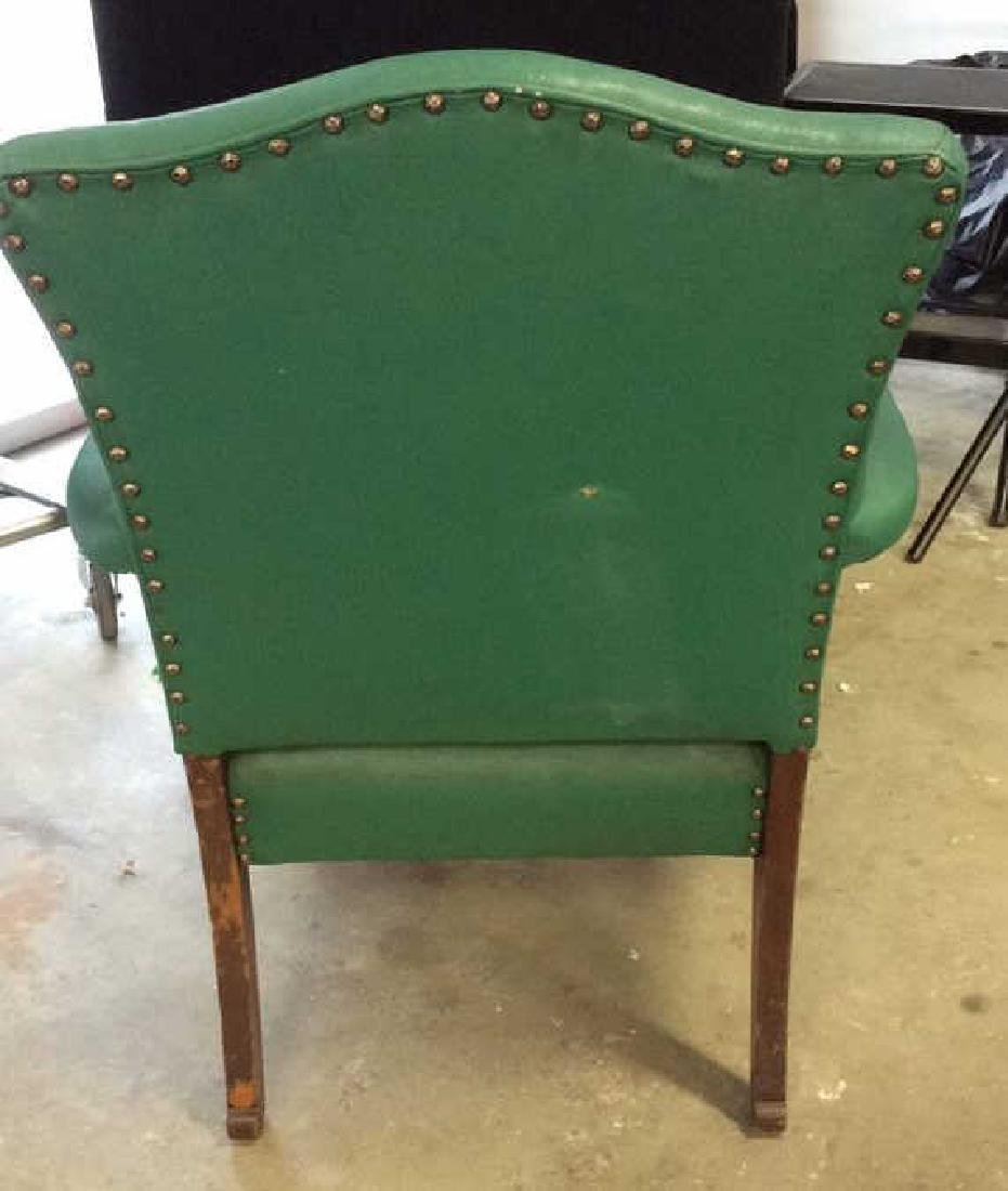 Vintage leather And carved Bergere Arm chair with - 5