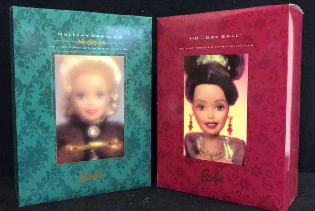 2 Holiday Barbie Dolls W Boxes Two holiday barbies with
