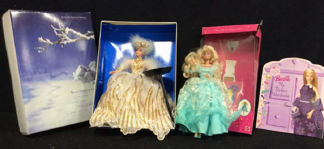 2 Barbie Doll Collectibles Boxes Book Snow Princess