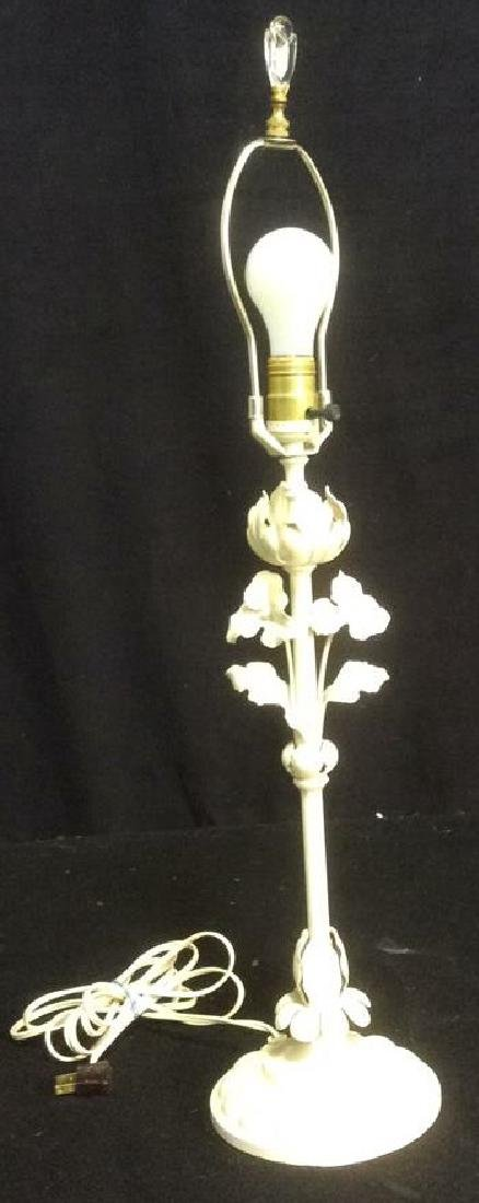 Vintage Toll Iron White Table Lamp Vintage Shabby Chic